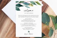 Greenery Welcome Letter Template Wedding Itinerary Card intended for Wedding Welcome Itinerary Template