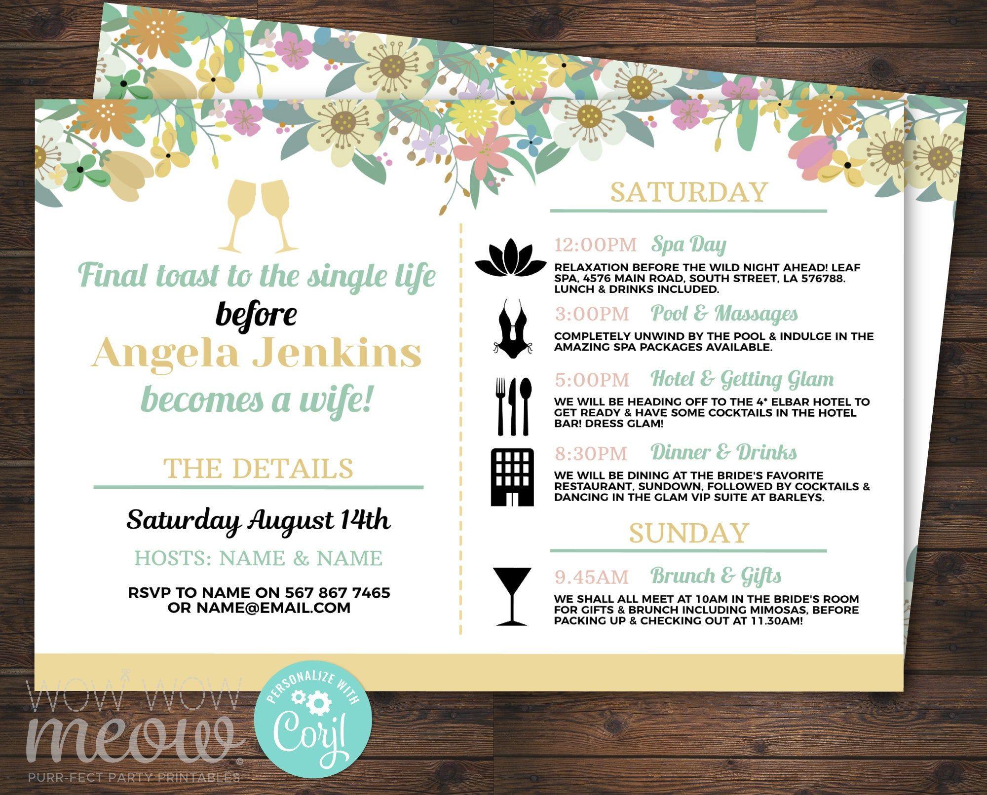 Pin On Itinerary Bridal Shower Invitations regarding Bridal Shower Itinerary Template
