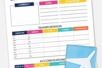 Printable Travel Itinerary Planner  Free Printable regarding Vacation Itinerary Planner Template
