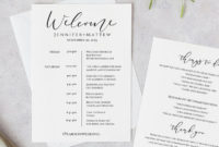 Printable Wedding Itinerary Template Wedding Weekend  Etsy with Destination Wedding Weekend Itinerary Template