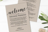 Rustic Wedding Itinerary Template / Printable Wedding intended for Wedding Welcome Bag Itinerary Template