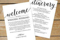 Rustic Wedding Itinerary Template / Printable Wedding within Wedding Welcome Itinerary Template