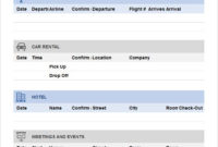 Travel Itinerary throughout School Trip Itinerary Template
