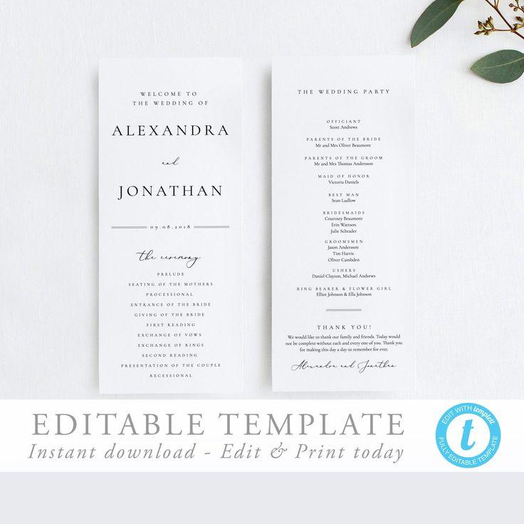 Wedding Ceremony Program Simple Program Template Elegant with regard to Wedding Ceremony Itinerary Template