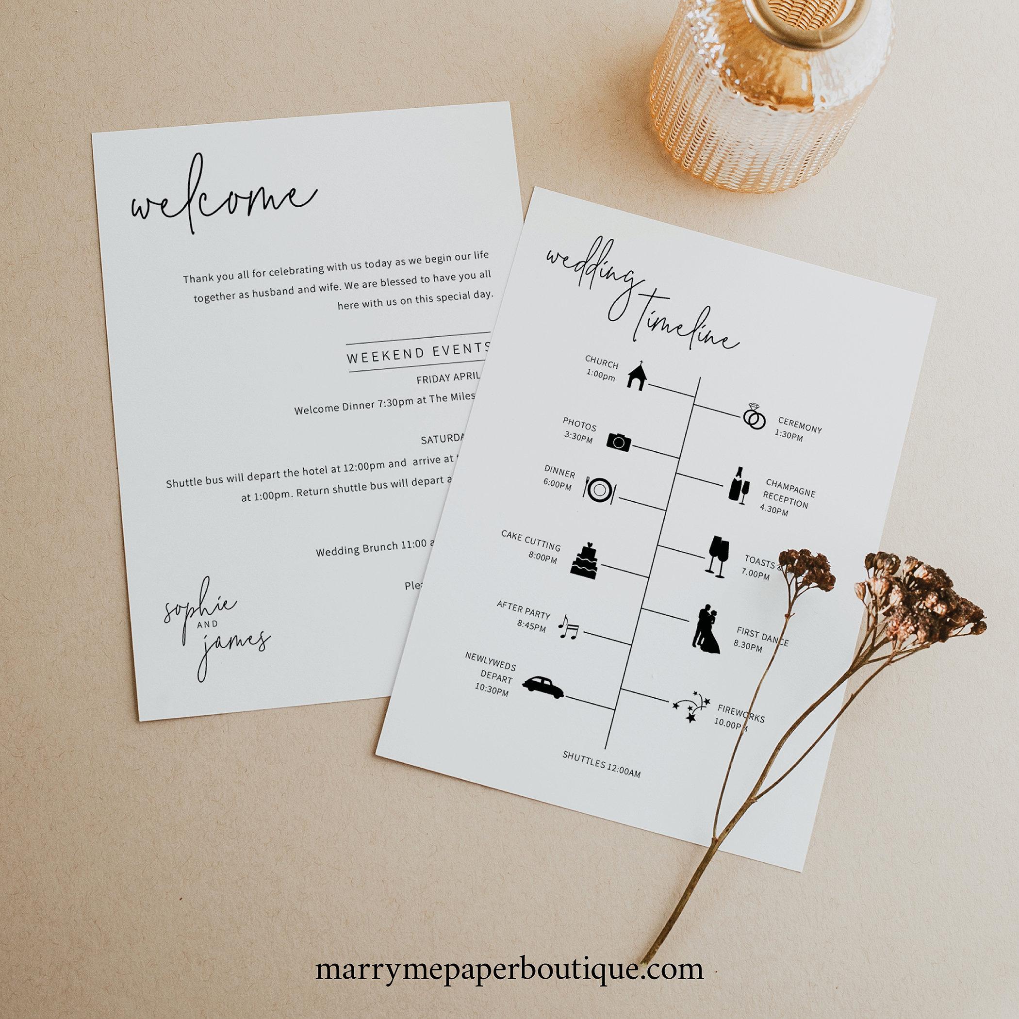 Wedding Itinerary Card Template Minimalist Elegant throughout Honeymoon Itinerary Template