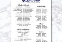 Wedding Timeline Checklist Wedding Party Printable Wedding pertaining to Bridal Shower Itinerary Template